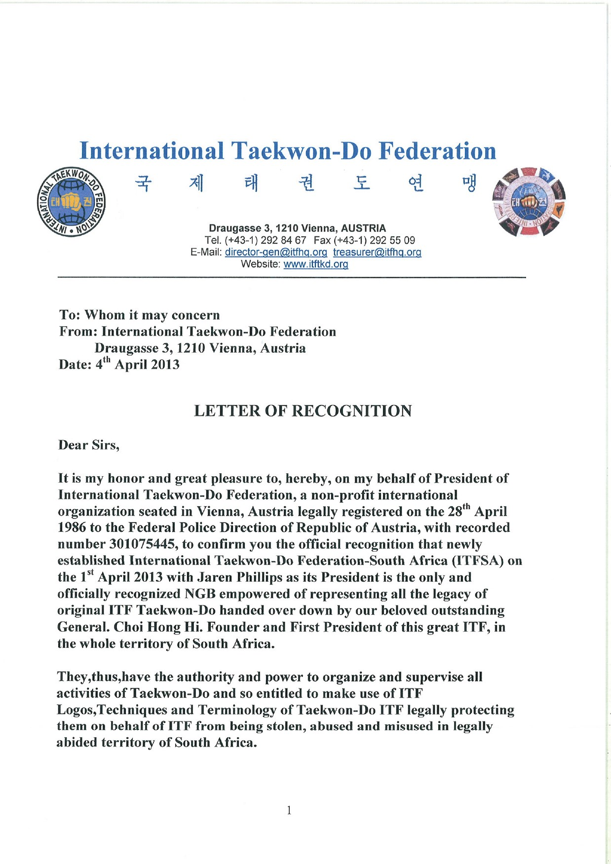Letter Of Recognition - Page 1